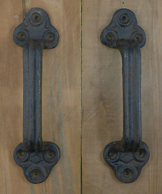 """Cast Iron Gate Shed Barn Door Pull Handle 9"""" Large and Sturdy Set of 2"""