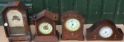 Selection Of 4 Assorted Tatty Looking Mantel Clocks To Restore Or Spares
