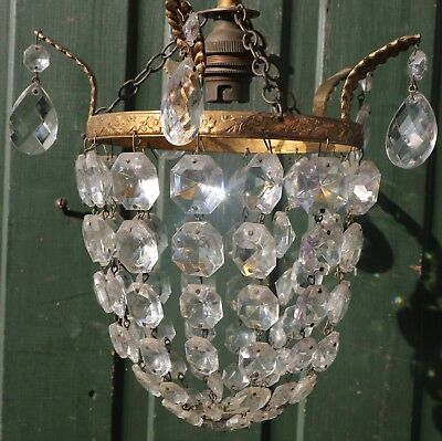 Fab Small Ceiling Light Chandelier With Real Glass Droppers Ideal For Hallway