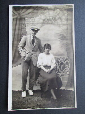 YOUNG COUPLE, NICE FASHION DETAILS - REAL PHOTO POSTCARD (1910s)