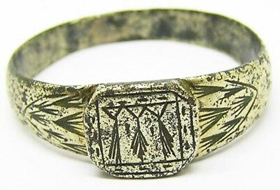 Superb Medieval Silver Gilt Ermine Glove Ring  14th-15th century AD Size 12 1/2
