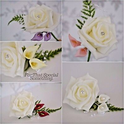 callalily buttonhole fern leaf pearls diamante wedding groom corsage bride