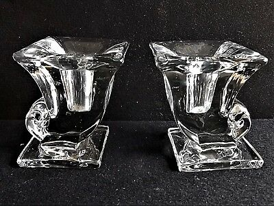 Vintage Art Deco Clear Glass Crystal Pair Candleholders