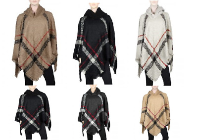 New classic plaid checker knit hoodie poncho beige black gray navy cream