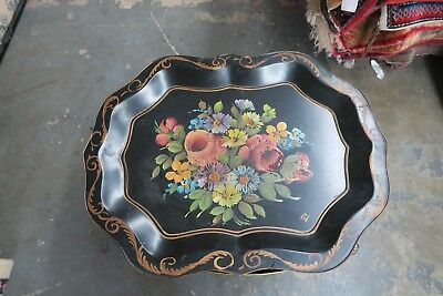 "Vintage  Primitive Hand Painted Tole-ware Tray 20"" x 26"" Tole Shabby Floral"