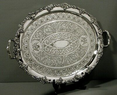 Charters & Bro. Silver Tray   c1840        HAND DECORATED AMERICAN EAGLE