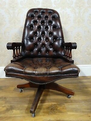 Superb antique / vintage english brown leather chesterfield swivel desk armchair