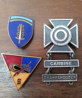 Lot of 3 WW2 Military pins, Rifle Marksman Pin Medal - Sterling Silver