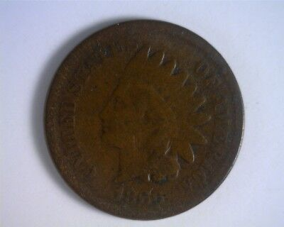 1866 Semi-Key Indian Head Cent - GOOD Sharpness; old scratches