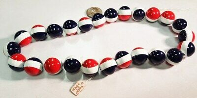 25 VINTAGE JAPANESE AMERICANA DECO RED WHITE BLUE 16mm. ROUND BEADS 4233T