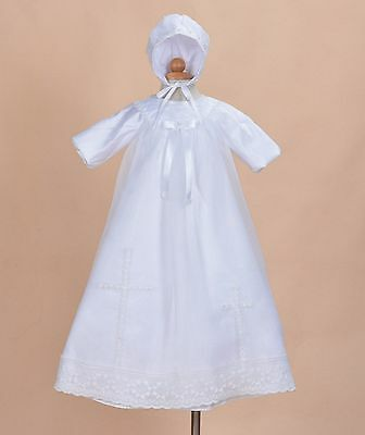 Cinda Baby Long Sleeves White Satin Long Christening Gown and Bonnet 6-9 Months