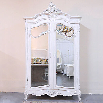 Shabby Cottage Chic Vintage Ornate Armoire Mirrored Doors French Style White