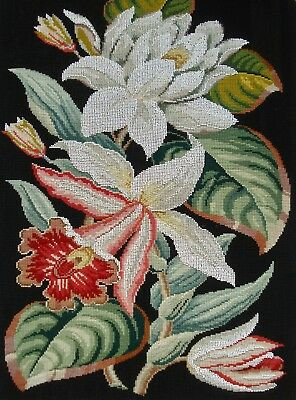 Large Antique Victorian Beadwork And Berlin Woolwork Panel - Lilies