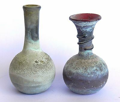 Set of 2 Antique Mini Jug Roman Glass Vase Pitcher Multi-Color Bottle Holy Land