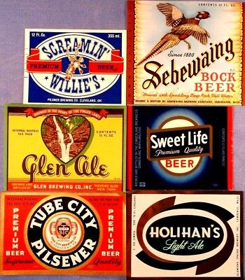 Beer Bottle Labels - Exceptional Lot Of 6 - All Appear Unused