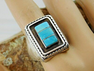 Vtg OLD Pawn NAVAJO Sterling Silver SLEEPING Beauty TURQUOISE RING Harvey ERA