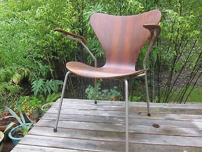 Vtg Arne Jacobson Fritz Hansen Model 3207 Arms chair Series 7 Danish 60s