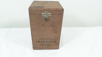 Vintage RB Robt. Burns Imperials Cigar Box Holds 25 Glass Tube Humdors w/insert