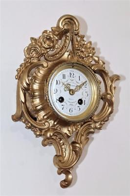 ANTIQUE EXCELLENT SMALL PARIS FRANCE GILDED ORMOLU CARTEL WALL CLOCK Circa 1880