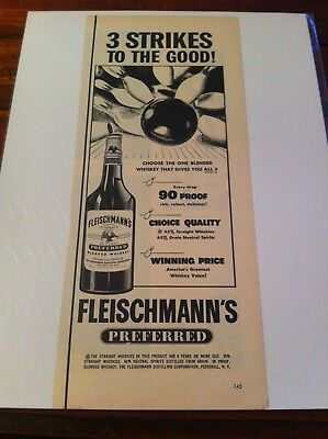 Vintage 1949 Fleischmann's Whiskey 3 Strikes To The Good Bowling Print Art ad