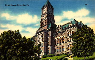 Postcard  Court House Pottsville Pennsylvania  Unused Linen