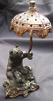 Bronze Statue : Study of an Angry Bear with a Parasol and a Baby's Rattle