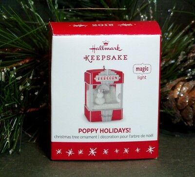 "2016 Hallmark Magic Miniature Ornament ""Poppy Holidays"" Snowman Popcorn Machine"