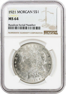1921 $1 Morgan Silver Dollar NGC MS64