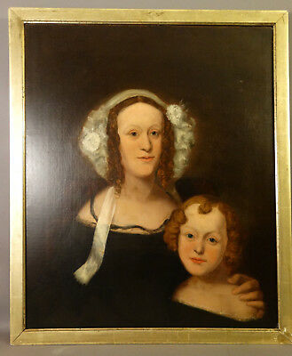 19thC Antique AMERICAN EMPIRE Era LADY & CHILD Primitive PORTRAIT Oil PAINTING