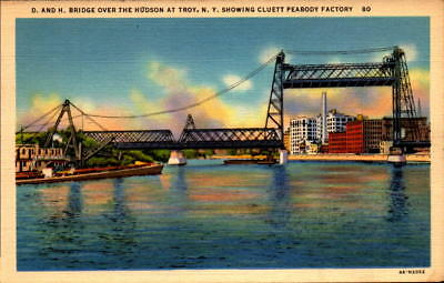 Postcard D. and H. Bridge Hudson Troy New York Peabody Factory Unused