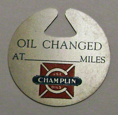 """""""Rare"""" Old Champlin Aluminum Oil Change Reminder Tag New Old Stock NOS"""
