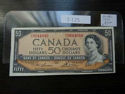 Vintage Canada Banknote 1954 50 Dollar   Nice Quality      T125