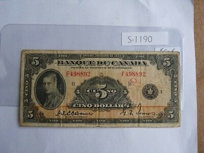 Vintage Canada Banknote 1935 5  Dollar Frnch Issued Cat Value   225.00    S1190