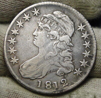 1812 Capped Bust Half Dollar 50 Cents - Nice Coin, Free Shipping (6449)