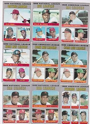 Lot of 1960's and Early 70's Topps Baseball LDRS Cards