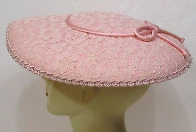 Vtg Womens Hat PINK Platter Satin Bow Lacy Covering 1940s-50s