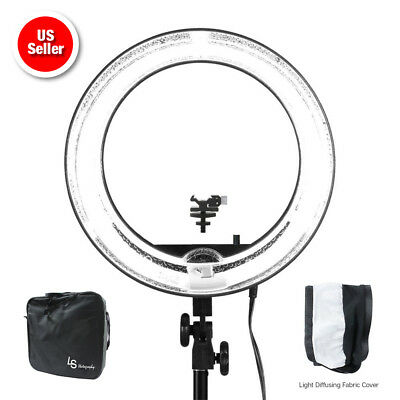 """18"""" Dimmable Continuous Lighting Diva Ring Light Video Photography w/ Bag 5500K"""