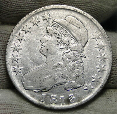 1813 Capped Bust Half Dollar 50 Cents - Nice Coin, Free Shipping (6555)