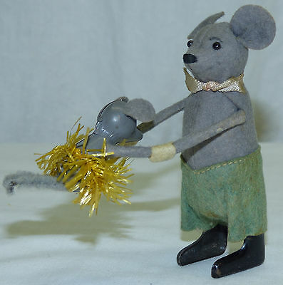 Antique Schuco German Mechanical Wind-up Toy Mouse w Dancing Baby US Zone Video