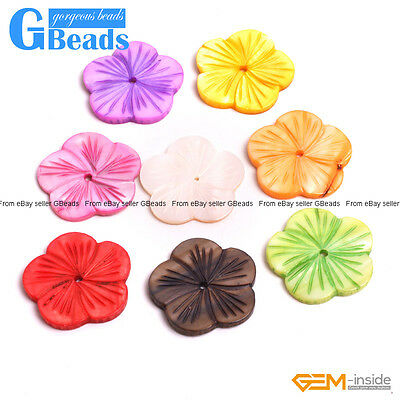 30mm Flower Colorful MOP Shell DIY Craft Jewellery Making Design Beads 6 PCS