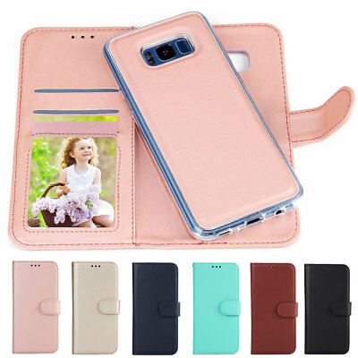 Flip Premium Leather+Silicone Magnetic Removable Wallet Case Cover For Phone