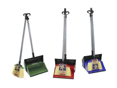Dustpan and Brush Broom Set Dust Pan Long Sweep Lobby Garden Lid Cover NEW