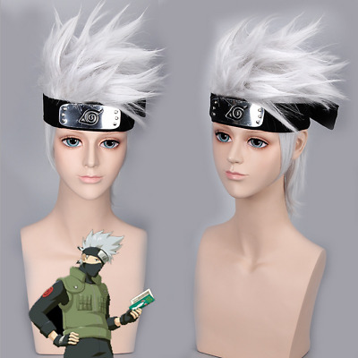 Silver Naruto Hatake Kakashi Cosplay Wig + Headband 2 Pcs in 1 Set US SHIP!!!