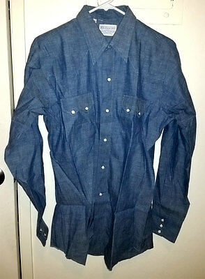 Deadstock Vtg Cable Car Clothiers SF Denim Chambray Shirt W/SAWTOOTH Pockets
