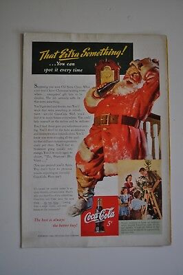 Vintage Coca Cola Advertising 1942 Santa Christmas Holiday