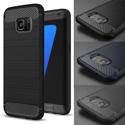 Luxury Carbon Fiber Silicone Soft Anti-Shock Back Case Cover For Samsung Galaxy