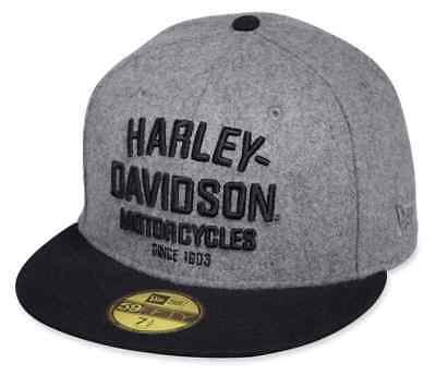 Genuine Harley Davidson Men's Black Label Wool 59THIRTY Baseball Cap 99499-17VM