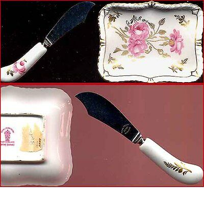 Vintage Chintz Knife & Dish Roses on White & Gold Gild Royal Crown Derby England