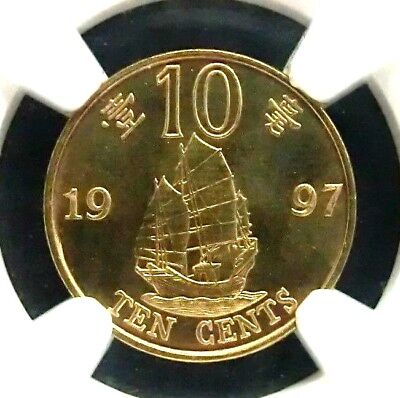 NGC Sample-HK 1997 Ship 10 Cents-For GCCS August 2017 In Hong Kong Scarce