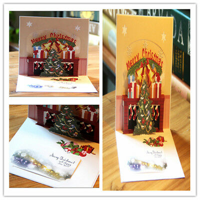 X-mas Christmas 3D Stereoscopic Holidays Tree Paper Greeting Cards Pop Up Gift